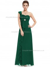 Cheap Amazing Dark Green A-line Chiffon Ruffles Floor-length Sweetheart Bridesmaid Dress