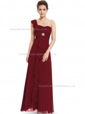 Vintage Burgundy A-line Chiffon Ruffles Floor-length Sweetheart Bridesmaid Dress