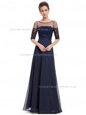 Cheap Dark Navy A-line Chiffon Lace Floor-length Bateau Bridesmaid Dress