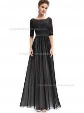 Girls Black A-line Chiffon Lace Floor-length Bateau Bridesmaid Dress