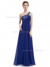 Cheap Royal Blue A-line Chiffon Beading Floor-length One Shoulder Bridesmaid Dress