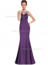 Girls Purple Mermaid Satin Applique Floor-length Bateau Bridesmaid Dress