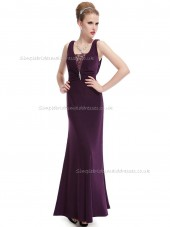 Girls Grape Mermaid Chiffon Lace Floor-length V-neck Bridesmaid Dress