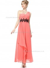 Online Watermelon A-line Chiffon Lace Floor-length One Shoulder Bridesmaid Dress