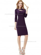 UK Grape Column / Sheath Elastic Silk-like Satin Knee-length Bridesmaid Dress