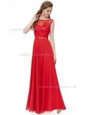 Vintage Red A-line Chiffon Lace , Beading Floor-length Bateau Bridesmaid Dress