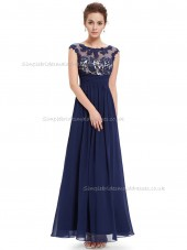 UK Dark Navy A-line Chiffon Lace Floor-length Bateau Bridesmaid Dress