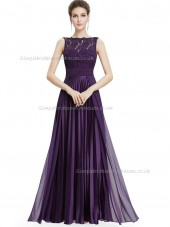 Cheap Purple A-line Lace Floor-length Bateau Bridesmaid Dress