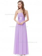 Cheap Lilac A-line Chiffon Sash Floor-length Bateau Bridesmaid Dress