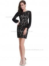 Budget Stunning Black Column / Sheath Lace Knee-length Bateau Bridesmaid Dress