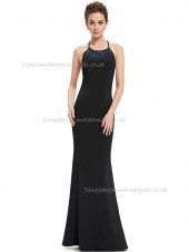 Designer Amazing Black Mermaid Beading Floor-length Bateau Bridesmaid Dress