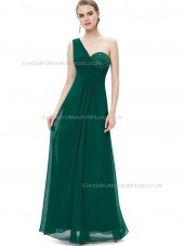 Purple Romantica Dark Green A-line Chiffon Beading Floor-length One Shoulder Bridesmaid Dress