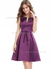 Cheap Celebrity Lavender A-line Satin Sash Knee-length Bateau Bridesmaid Dress