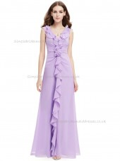 Designer Discount Lilac A-line Chiffon Tiered Floor-length V-neck Bridesmaid Dress