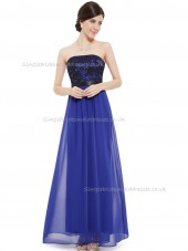 Beautiful Best Vintage Royal Blue A-line Tulle Lace Floor-length Bateau Bridesmaid Dress