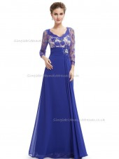 Budget Girls Royal Blue A-line Chiffon Lace Floor-length Bateau Bridesmaid Dress