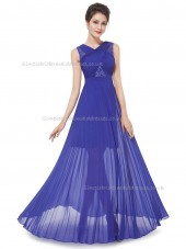 Elegant Romantica Vintage Royal Blue A-line Chiffon Lace Floor-length V-neck Bridesmaid Dress