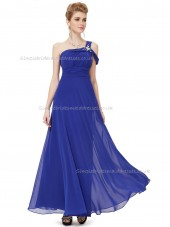 Budget Amazing Royal Blue A-line Chiffon Beading Floor-length Bridesmaid Dress