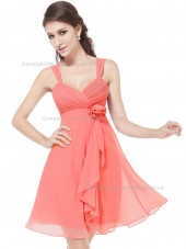 Budget Best Pink A-line Chiffon Hand Made Flower Knee-length Sweetheart Bridesmaid Dress
