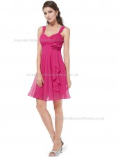 Multicolor Vintage A-line Chiffon Hand Made Flower Knee-length Sweetheart Bridesmaid Dress