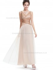 Multicolor Vintage Champagne A-line tulle Floor-length V-neck Bridesmaid Dress