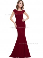 Budget Girls Burgundy Mermaid Ruched Floor-length Bateau Bridesmaid Dress