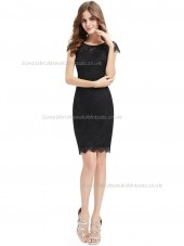 Multicolor UK Black Column / Sheath Lace Knee-length Bateau Bridesmaid Dress