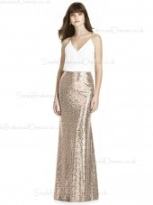 Cheap Stunning Column / Sheath Sequin V-neck Floor-length Gold Sleeveless Empire Waist Backless Bridesmaid Dress