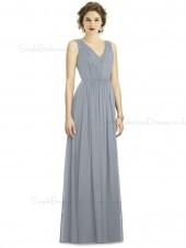 Elegant Silver A-line Ruffles Chiffon V-neck Floor-length Sleeveless Natural Bridesmaid Dress