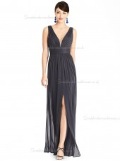 Fitted A-line Chiffon Draped Floor-length V-neck Black Bridesmaid Dress