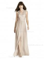 Budget Romantica A-line Lace Lux Chiffon V-neck Pearl Pink floor-length Bridesmaid Dress