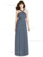 UK Girls Lux Chiffon floor-length Scoop Draped A-line silverstone Bridesmaid Dress