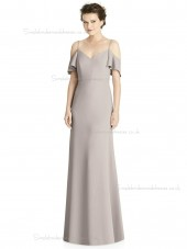 Beautiful Romantica taupe V-neck Mermaid Satin floor-length Bridesmaid Dress