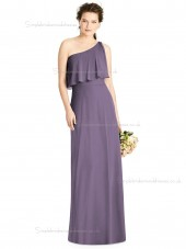Designer Celebrity floor-length lavender One Shoulder Lux Chiffon Column / Sheath Draped Bridesmaid Dress