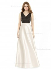 Fitted Discount floor-length A-line Satin V-neck Bridesmaid Dress