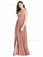 Fitted Best A-line V-neck Draped desert floor-length rose Chiffon Bridesmaid Dress