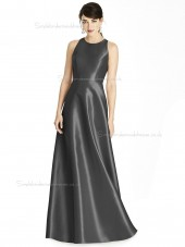 Cheap Stunning A-line floor-length Scoop Satin Gray Bridesmaid Dress