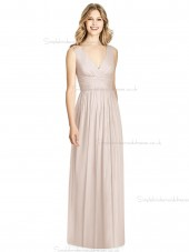 Beautiful Girls floor-length A-line Lux Chiffon V-neck blush Bridesmaid Dress