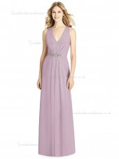 Designer Celebrity A-line Matte Chiffon floor-length suede rose Beading V-neck Bridesmaid Dress