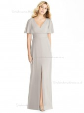 Beautiful Romantica Split V-neck Chiffon oyster floor-length Column / Sheath Bridesmaid Dress