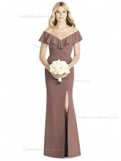 Vintage Girls Split Satin Mermaid Brown Bridesmaid Dress