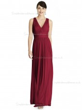 Beautiful Romantica A-line Chiffon V-neck Burgundy floor-length Draped Bridesmaid Dress