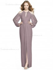Beautiful Romantica Chiffon A-line floor-length Split desert rose Scoop Bridesmaid Dress