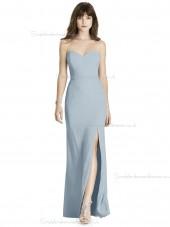 Cheap Amazing Column / Sheath Chiffon Floor-length Sweetheart mist Split Bridesmaid Dress
