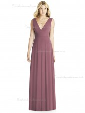 UK Girls floor-length Draped english rose A-line V-neck Chiffon Bridesmaid Dress
