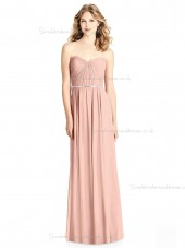 Budget Belt / Beading floor-length Pink V-neck Chiffon A-line Bridesmaid Dress