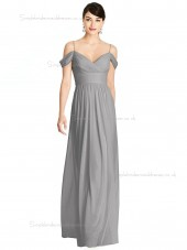 Designer Best A-line Floor-length Silver V-neck Draped Chiffon Bridesmaid Dress