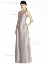 Cheap Best Floor-length A-line V-neck Satin taupe Bridesmaid Dress