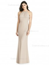 Amazing Scoop Champagne Floor-length Chiffon Mermaid Bridesmaid Dress