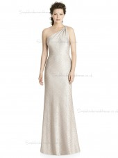 Fitted Champagne Mermaid One Shoulder Floor-length Bridesmaid Dress